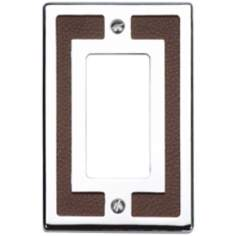 Zanzibar Brown Leather and Chrome Rocker Wall Plate