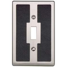 Zanzibar Black Leather and Brushed Nickel Toggle Wall Plate