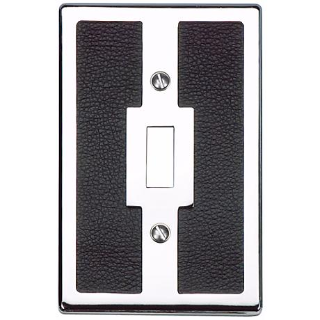 Zanzibar Black Leather and Chrome Toggle Wall Plate