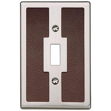 Zanzibar Brown Leather and Brushed Nickel Toggle Wall Plate