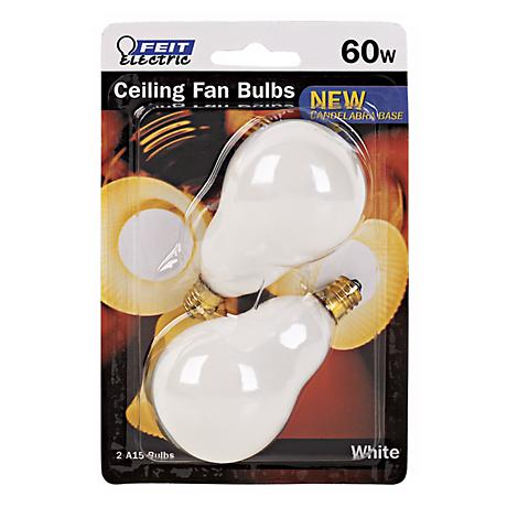Feit 2-Pack 60 Watt Candelabra Base Ceiling Fan Light Bulbs