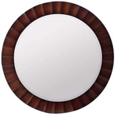 "Ridged Dark Brown Round 36"" Wide Mirror"