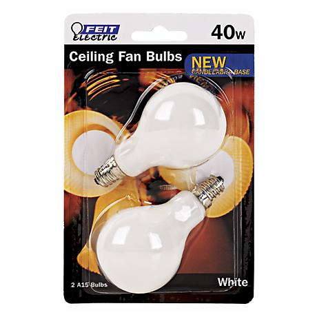 Feit Electric 40 Watt 2-Pack Candelabra Ceiling Fan Bulbs