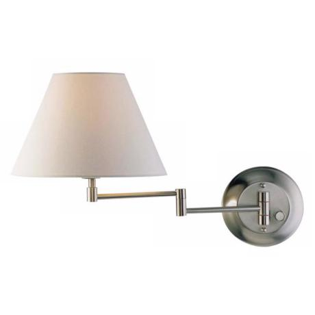Holtkoetter Nickel Finish White Shade Swing Arm Wall Lamp