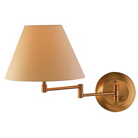 Holtkoetter Old Brass Finish Shaded Swing Arm Wall Lamp - #86110 www.lampsplus.com