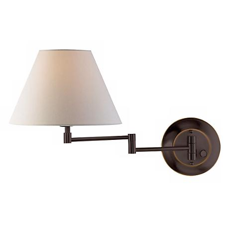 Holtkoetter Old Bronze White Shade Swing Arm Wall Lamp