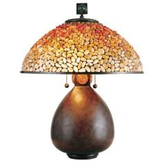 Quoizel Pomez Table Lamp with Agate Stone Shade