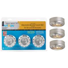 Silver Finish Halogen 20 Watt 3-Pack Puck Light Kit