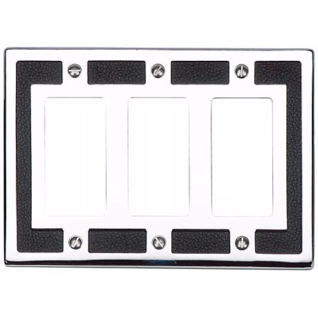 Zanzibar Black Leather and Chrome Triple Rocker Wall Plate