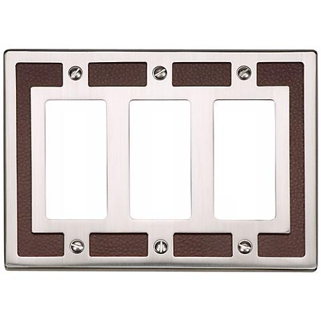 Zanzibar Brown Leather and Nickel Triple Rocker Wall Plate