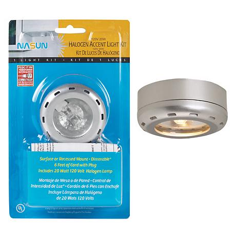 Silver Finish Halogen 20 Watt Single Puck Light Kit