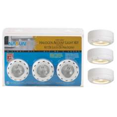 White Halogen 20 Watt 3-Pack Puck Light Kit