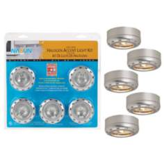 Silver Finish 5-Pack 20 Watt Halogen Puck Light Kit