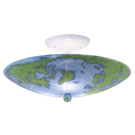 "World Map 17"" Wide Ceiling Light Fixture"