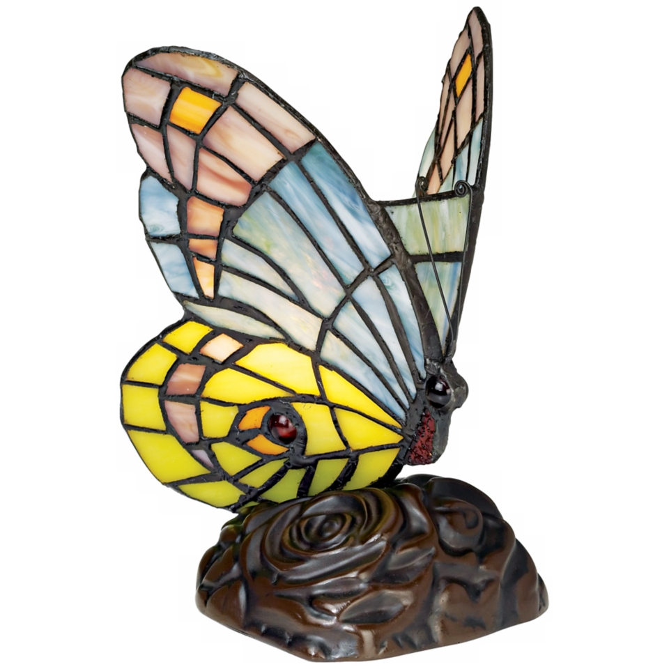 Green Purple Blue Butterfly Tiffany Style Accent Lamp   #86751