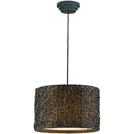 Naturo Rattan Espresso Hanging Three Light Chandelier