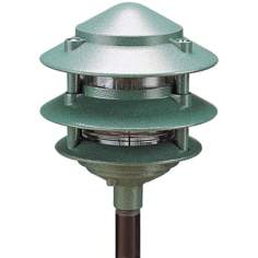 "Green 7"" High Three Tier Landscape Light"
