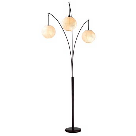 Spheres Antique Bronze Three Lite Arc Floor Lamp