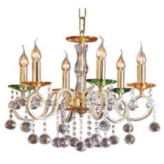 Golden Amber Bobeche Six Light Egyptian Crystal Chandelier