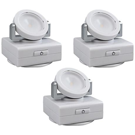 "Set of 3 White Swivel 3""W LED Under Cabinet Lights"