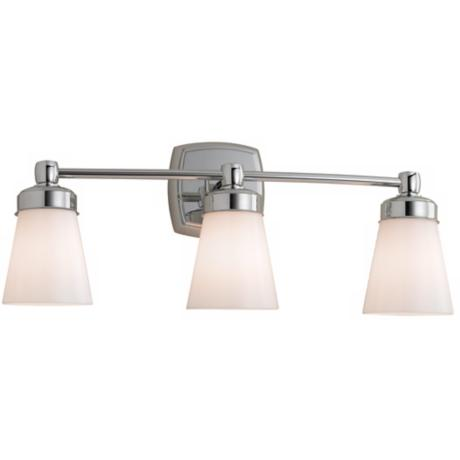 "Soft Square 22 1/4"" Wide Chrome Triple Light Fixture"