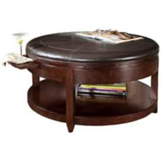 Magnussen Brunswick Faux Leather Ottoman or Cocktail Table