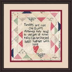 "Families Are Like Quilts 15 1/2"" Square Wall Art"