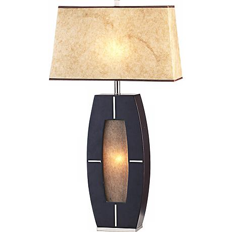 Nova Delacy Wood and Parchment Night Light Table Lamp