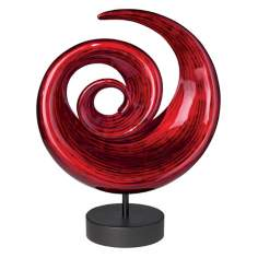 Neon Lacquer Circle Swirl Sculpture