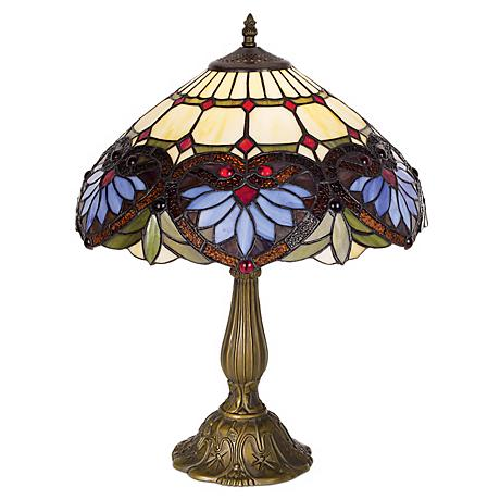 "Heart Motif Art Glass 22"" High Table Lamp"