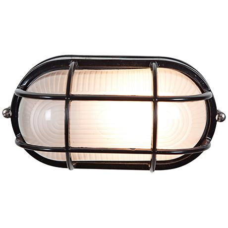 "Bulkhead 8 1/4"" High Black Oval Outdoor Wall Light"