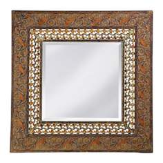 "Multicolor Embossed 29"" Wide Wall Mirror"