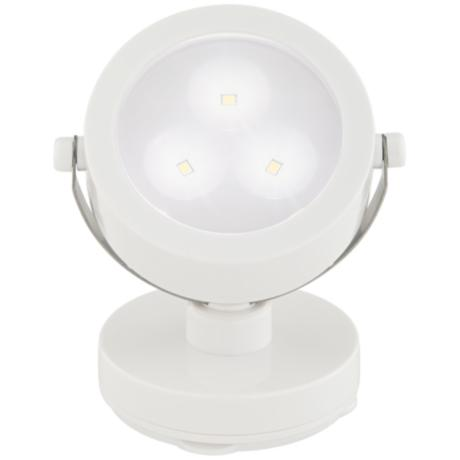 White Three Battery Powered LED Adjustable Spotlight