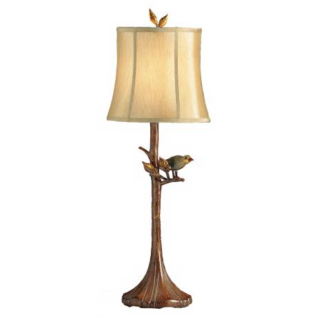 Woodlands Perched Bird Tree Table Lamp