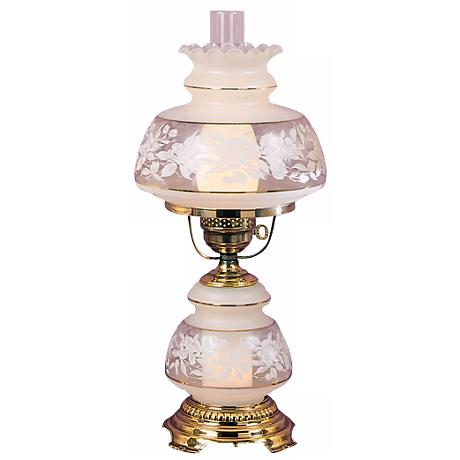 Quoizel Clear Frosted French Gold Large Hurricane Table Lamp