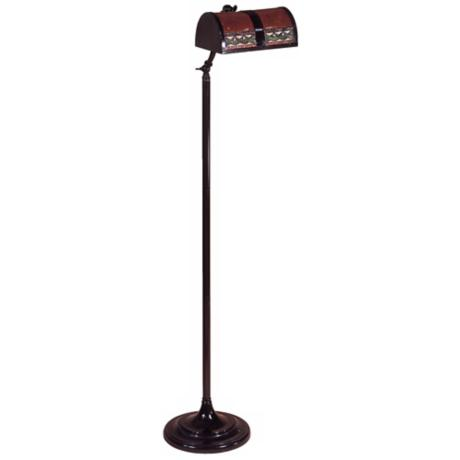 Bronze Finish Mica Mission Bankers Floor Lamp