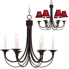 Iron Arm Six Light Candelabra Style Chandelier