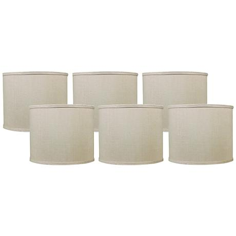 Bone Linen Set of 6 Drum Lamp Shades 5x5x4.5 (Clip-On)