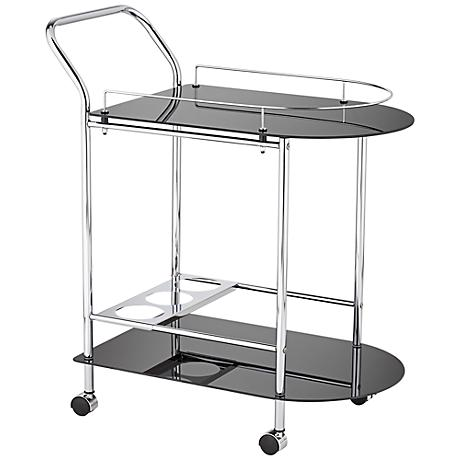 Finn Black Glass and Chrome 2-Shelf Rolling Serving Cart