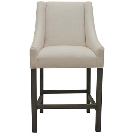 "Avoca Sand Linen 26"" Wood Counter Stool"