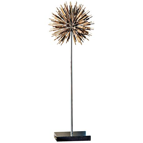 "Golden Dandelion 27"" High Gold and Black Sculpture"