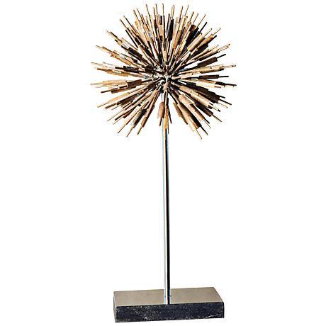 "Golden Dandelion 19"" High Gold and Black Sculpture"