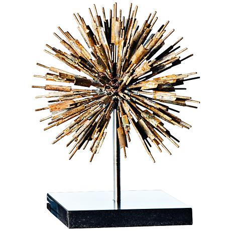 "Golden Dandelion 11"" High Gold and Black Sculpture"
