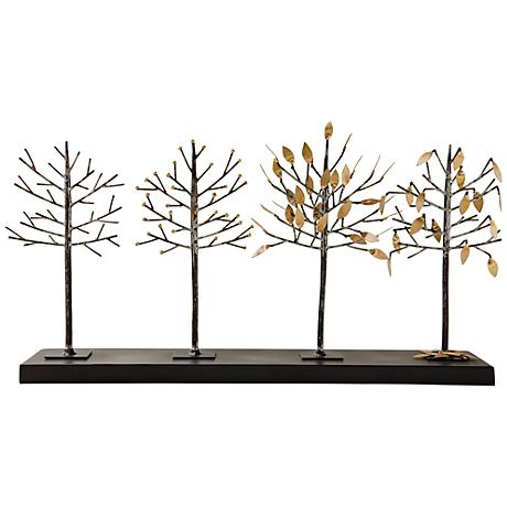 "Four Seasons Gold and Bronze 24 1/2"" Wide Tree Sculpture"