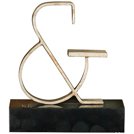 "Silver Decorative 9 3/4"" Ampersand Sculpture"