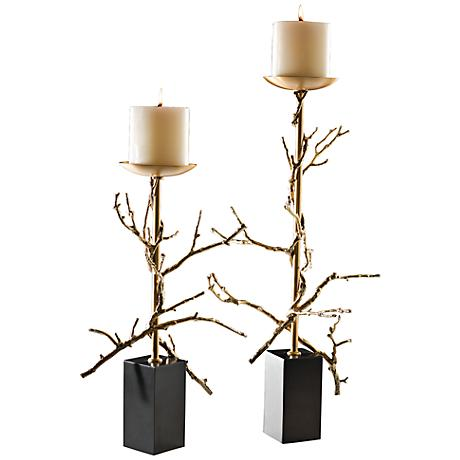 Twig Brass Plated Large Decorative Pillar Candle Holder