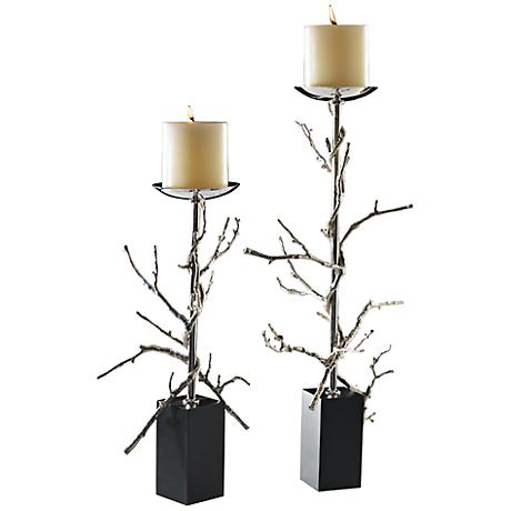 Twig Nickel Plated Small Decorative Pillar Candle Holder