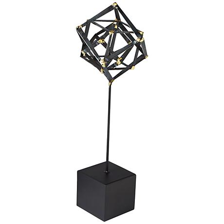 "Tilted Cube 20 1/2"" High Medium Iron Sculpture"