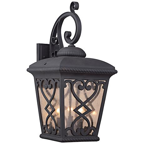"Quoizel Fort Quinn 23""H Marcado Black Outdoor Wall Light"