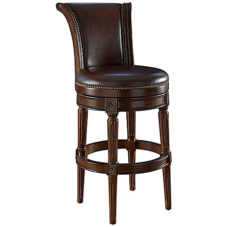 "Xander 30"" Mocha Top Grain Leather Swivel Barstool"
